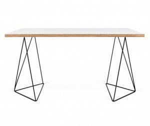Pisalna miza Flow White & Plywood