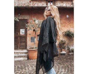 Ženski šal Piuma Nero 130x180 cm