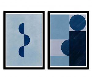 Set 2 slik Blue Geometric 36x51 cm