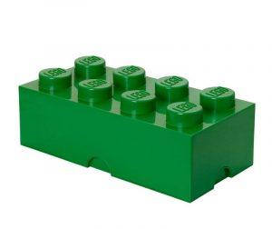 Škatla s pokrovom Lego Rectangular Extra Dark Green